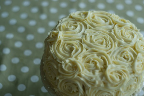 White chocolate and hazelnut rose cake