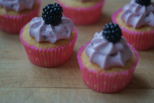 White chocolate and blackberry cupcakes
