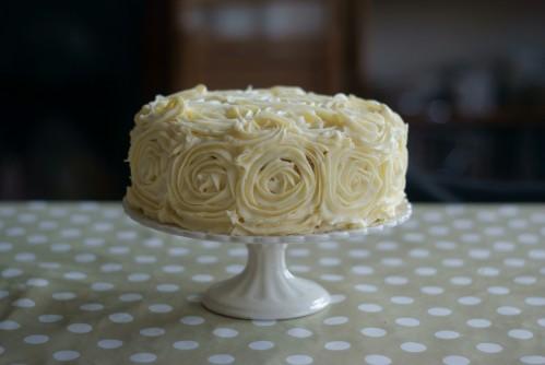 White chocolate and hazelnut rose cake